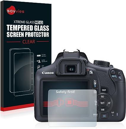 savvies Cristal Templado Compatible con Canon EOS 1300D Protector ...