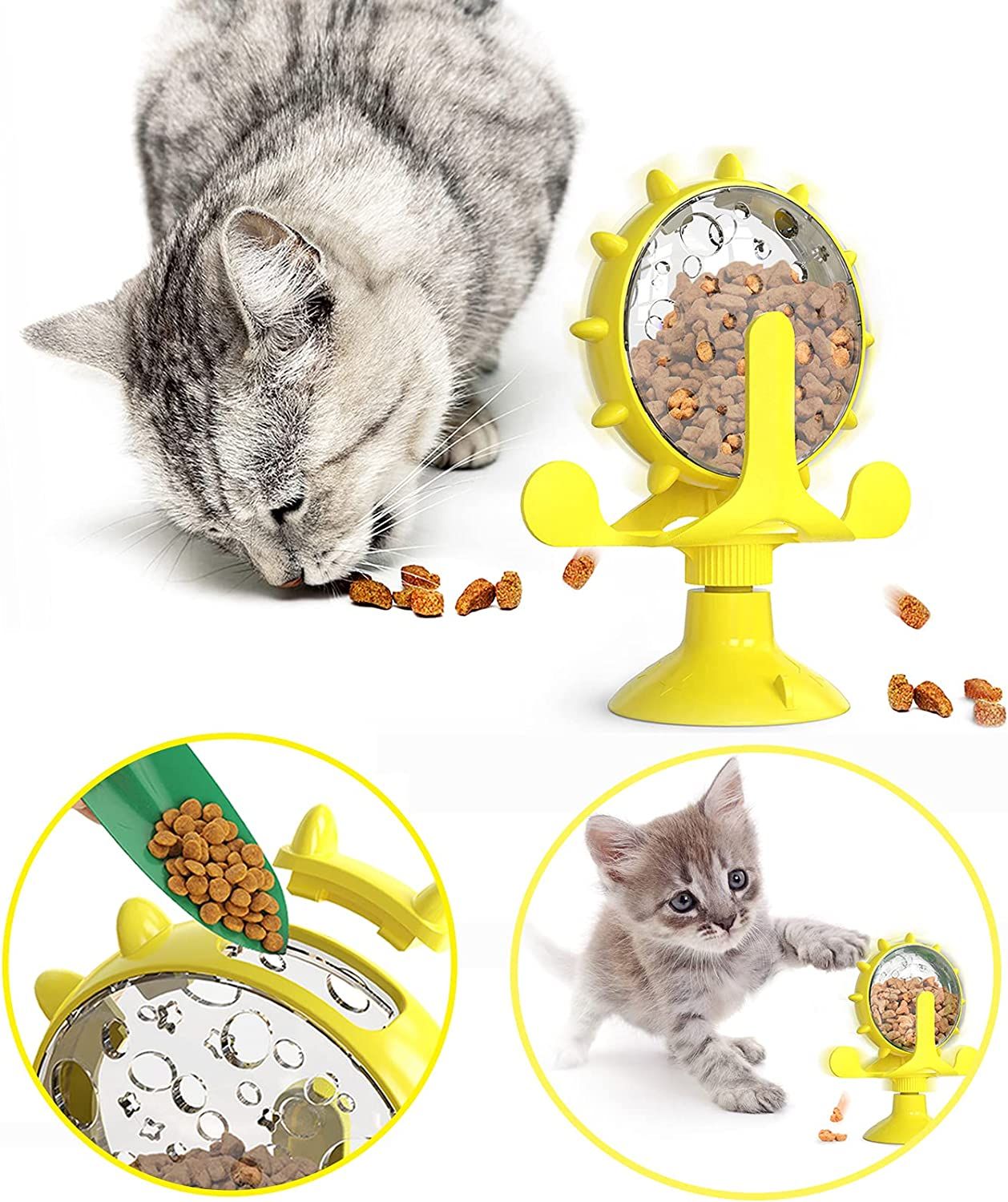 HUABANSHUI Automatic Feeder for Cat or Dog, Slow Food Dispenser Toys, Enrichment IQ Treat Dispensing Dog cat Toys for Indoor(Pet Supplies)
