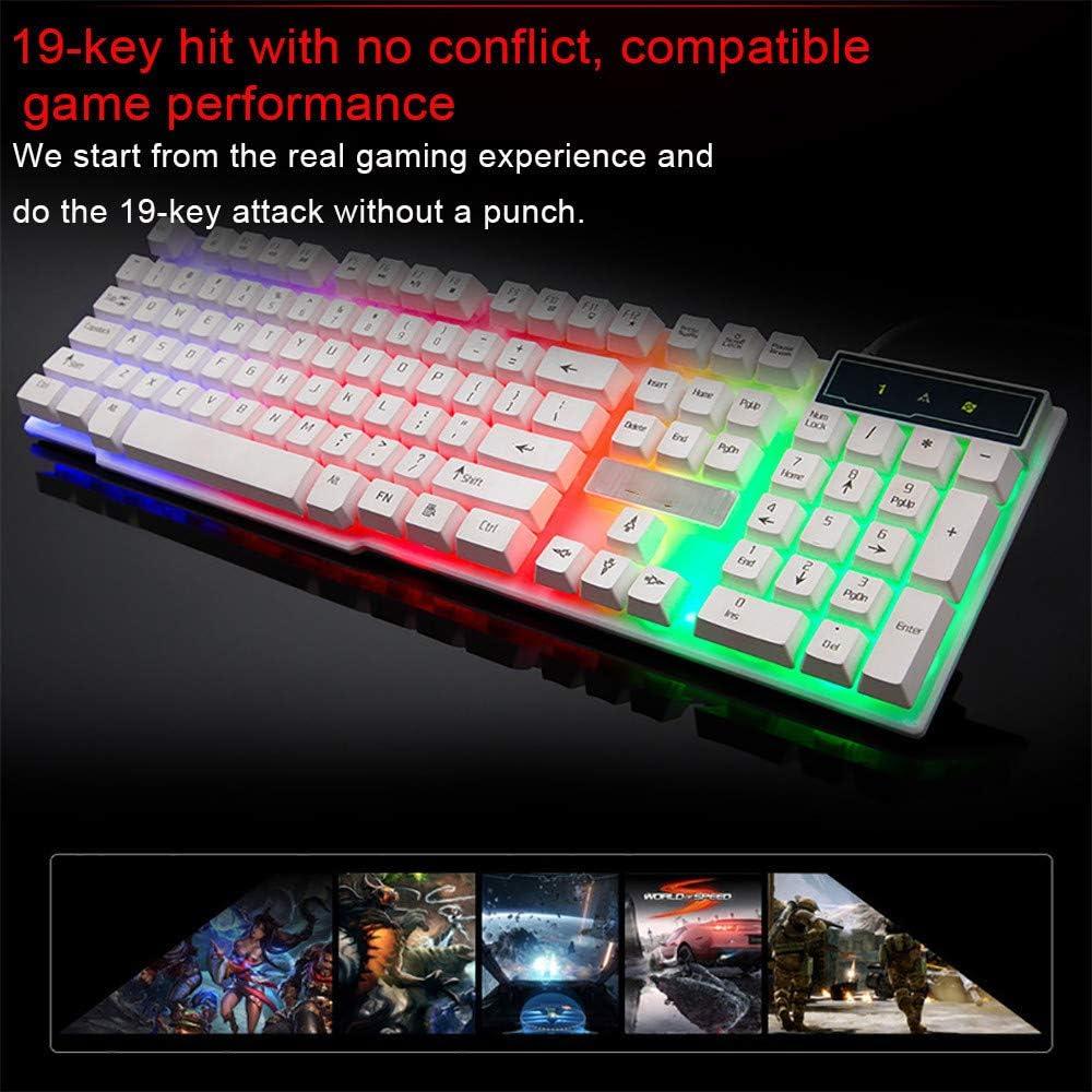White Gaming Keyboard USB Wired Keyboard Mechanical Keyboard 104 Keys LED Backlight Gaming Keyboard for PC Gamer Computer Desktop