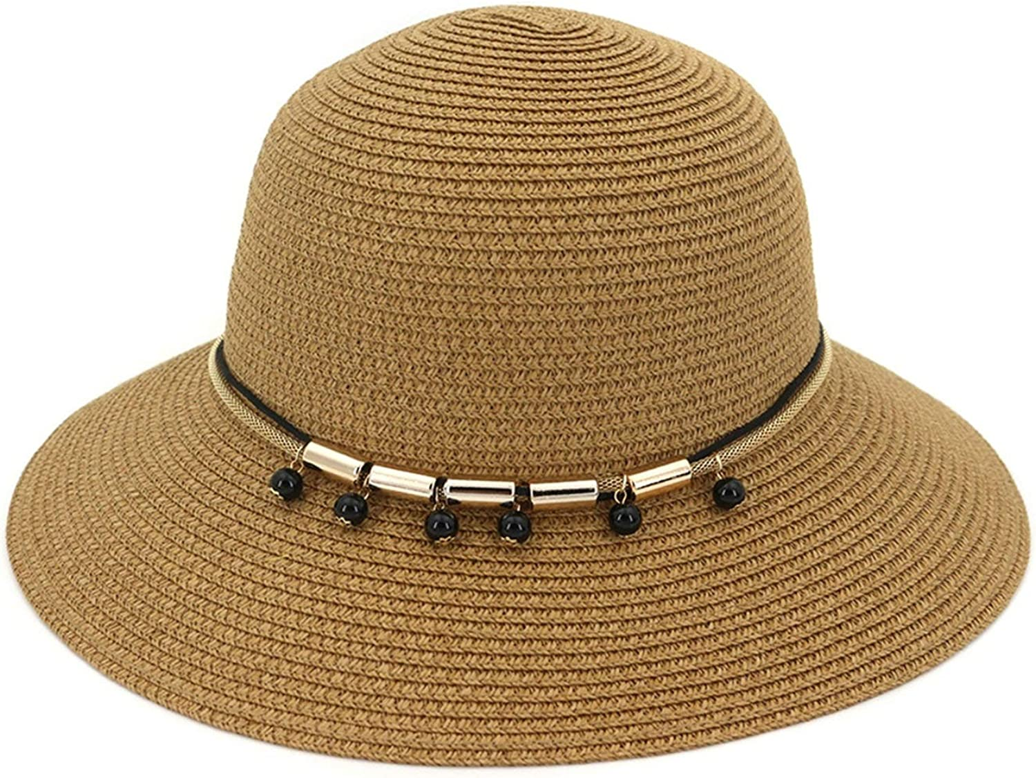 Bishilin Women Wide Brim Straw Roll Up Hat Wooden-Ear Sun Protection Hat