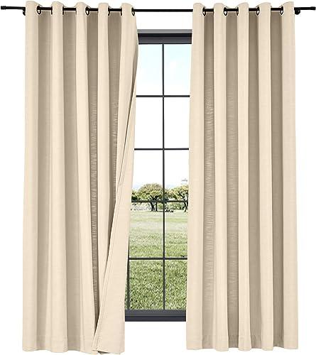 TWOPAGES 2 Panels Cotton Linen Curtain Drapery Decorative Curtain