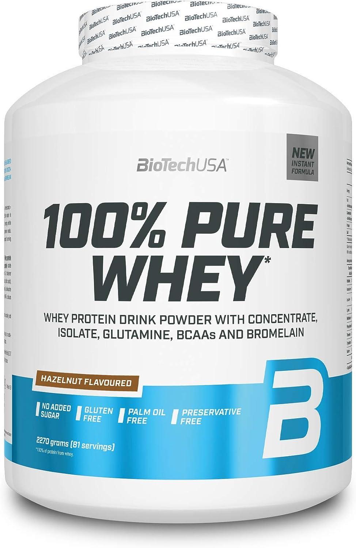 BioTechUSA 100% Pure Whey Complejo de suero de leche con bromelina, aminoácidos, sin azúcar añadido, sin aceite de palma, con edulcorante, 2.27 kg, ...