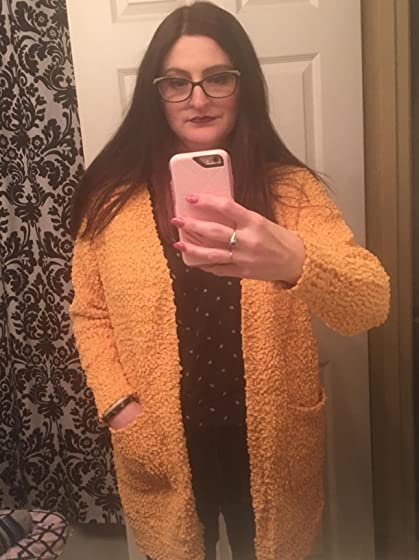 Ru Sweet Women's Long Sleeve Soft Chunky Knit Sweater Open Front Cardigan Outwear with Pockets Kind of bulky