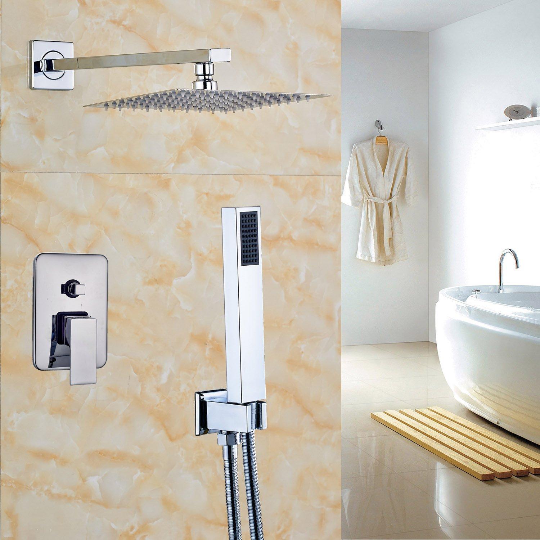 Rozinsanitary NEW Wall Mounted Chrome Brass Rain Shower Faucet Set