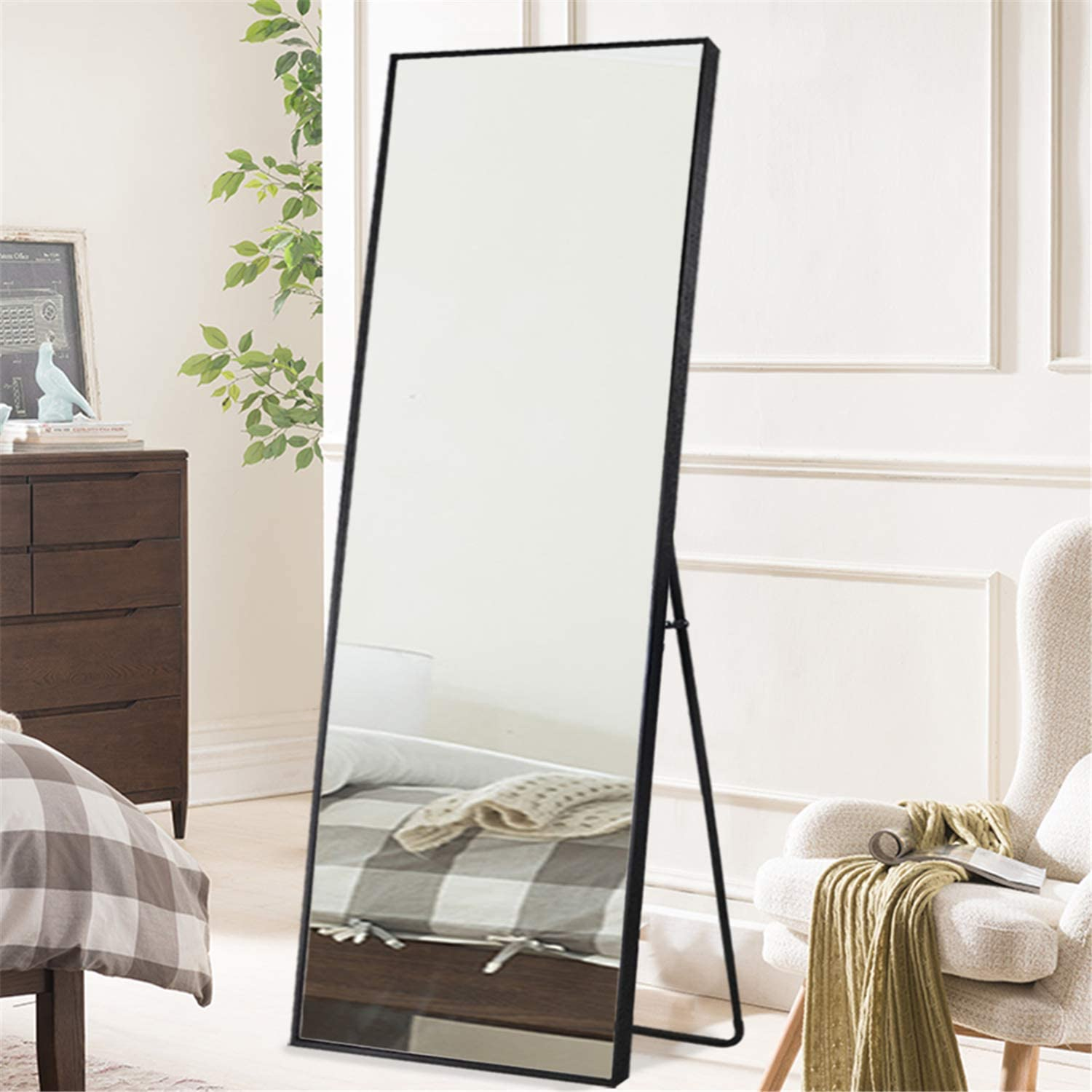 Amazon Com Zhowi Floor Mirror Full Length Large Full Body Size Stand Up Standing Long Mirrors Bedroom Bathroom Decor Ps Frame Black 65x22in Furniture Decor