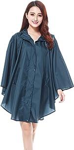 Womens Stylish Rain Poncho Raincoat with Hood for Hiking and Biking