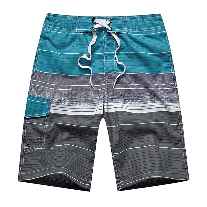 Surf Playa Verano Vacaciones Traje De Baño Pantalones De Natación Bañador Estampado De Raya Talla Grande para Hombre SxdVrnOZX7