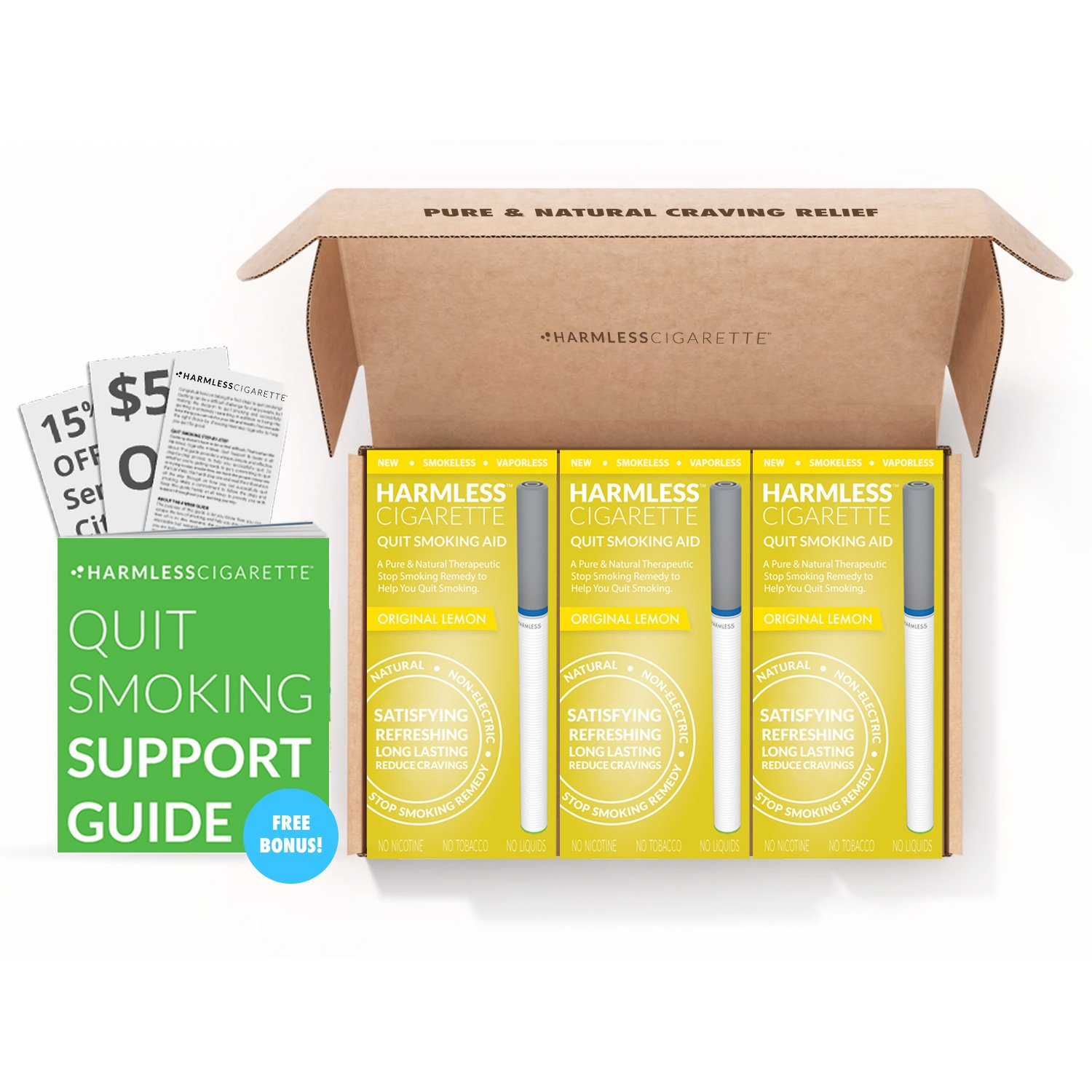 Quit Smoking Aid, Natural Stop Smoking Remedy to Help Reduce Cravings and Overcome The Urge to Smoke, 30 Day Quit Kit with Free Support Guide (Lemon, 3 Pack)