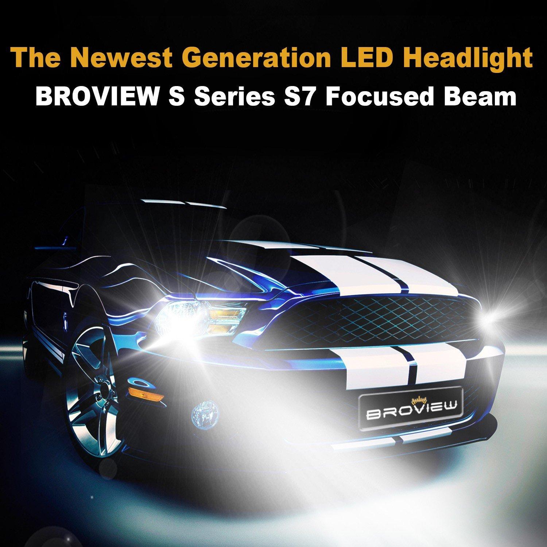 Broview S7 Led Headlight Bulbs W Clear Arc Beam Kit 50w Trailer Wiring Gt 1996 Gmc Yukon 8000lm 6500k White Cree Lights For Cars Replace Hid Xenon Headlights
