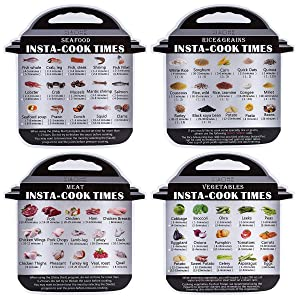 4 Pack Magnetic Cheat Sheet Compatible with Instant Pot Electric Pressure Cooker Accessories Food Images Magnet Cooking Times Quick Reference Guide for 60 Common Prep Functions