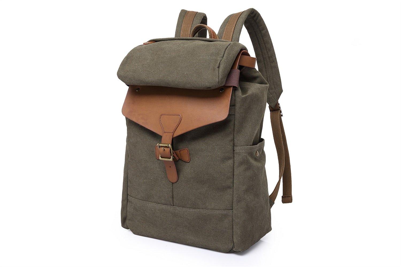 MUMUWU Men's Shoulder Bag Retro Canvas Bag Travel Backpack 15.6-inch Computer Bag Hiking Bag (Color : Bronze, Size : M)