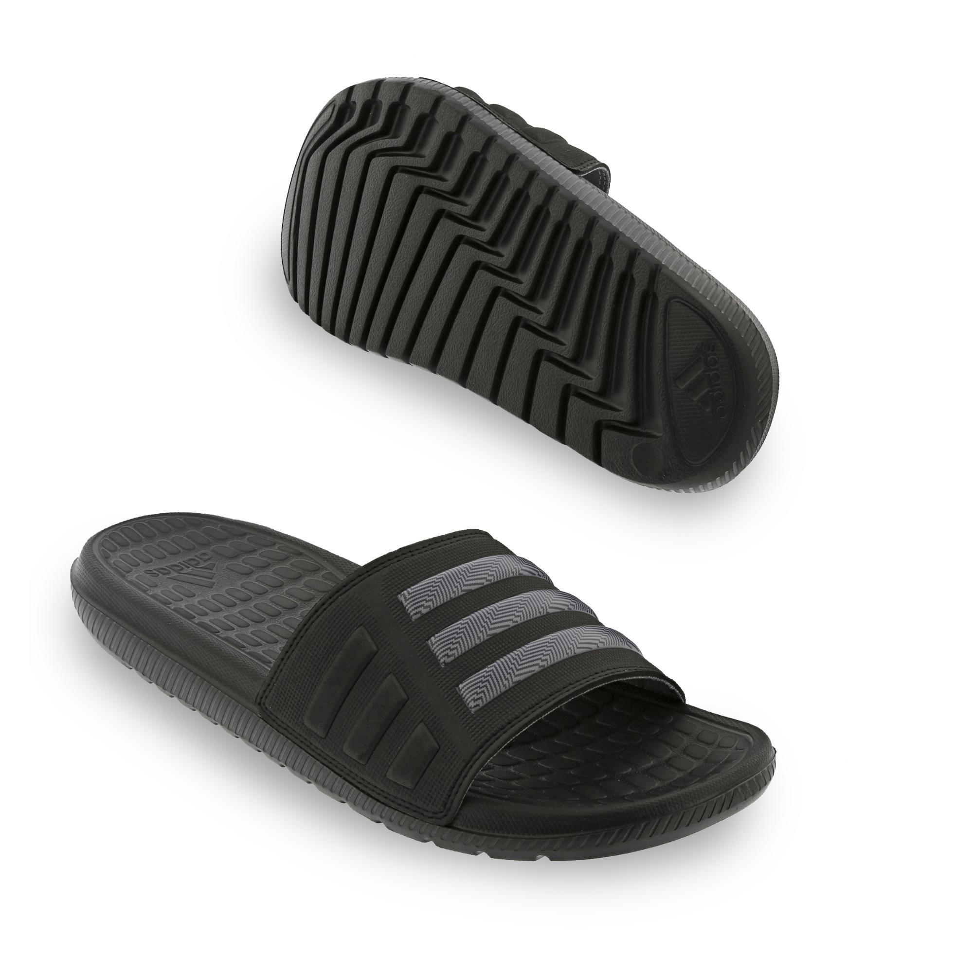 adidas Adilette Badeschuhe Badesandale Mungo QD 2.0, Farbe:Schwarztöne;Größe:UK 10 - EUR 44 2/3 - 27.5 cm