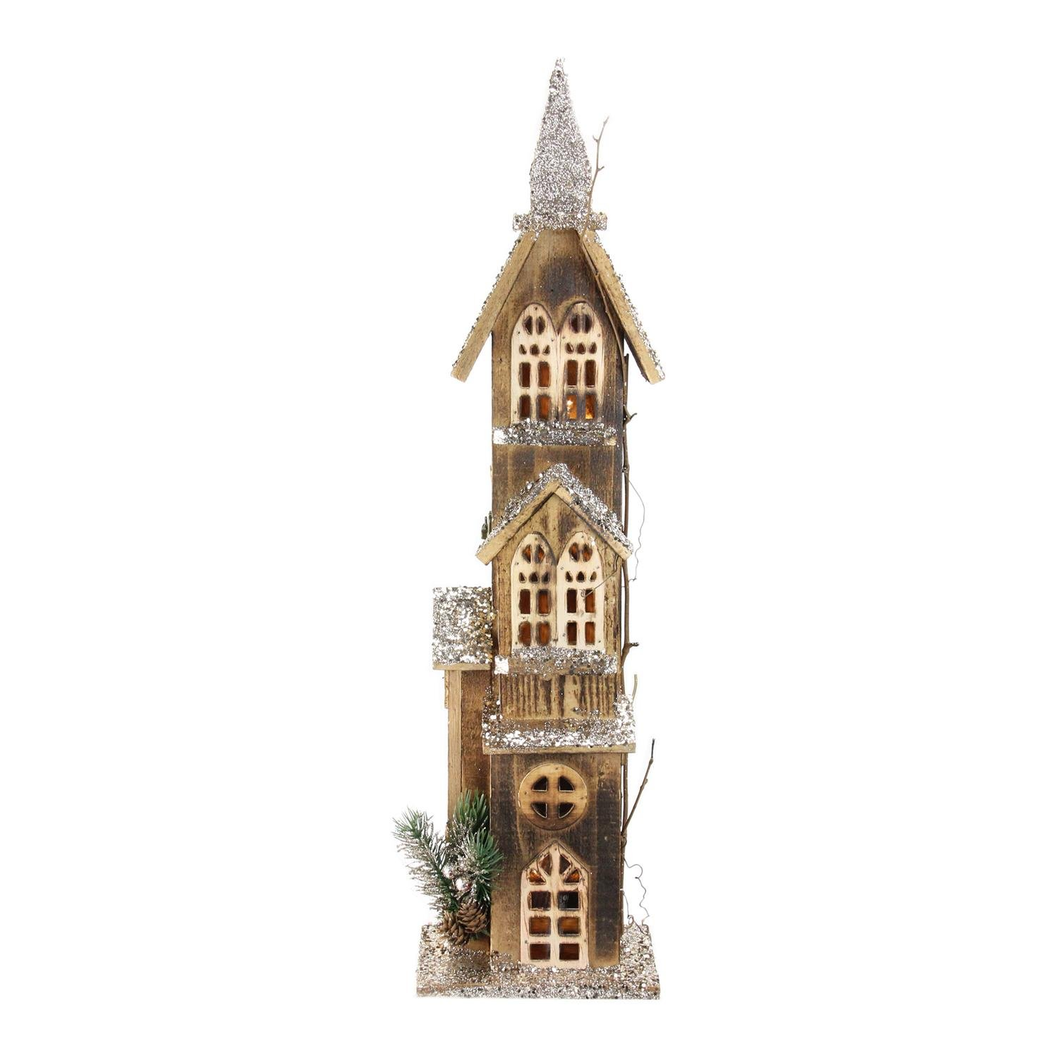 Northlight 24.5'' LED Lighted 3-Tier Brown Wooden Church Christmas Decoration