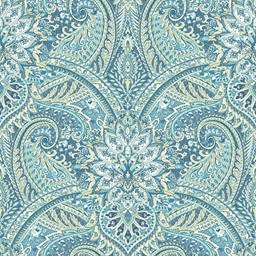 York Wallcoverings Waverly Classics II Swept Away Removable Wallpaper, - Prepasted Blue Wallpaper