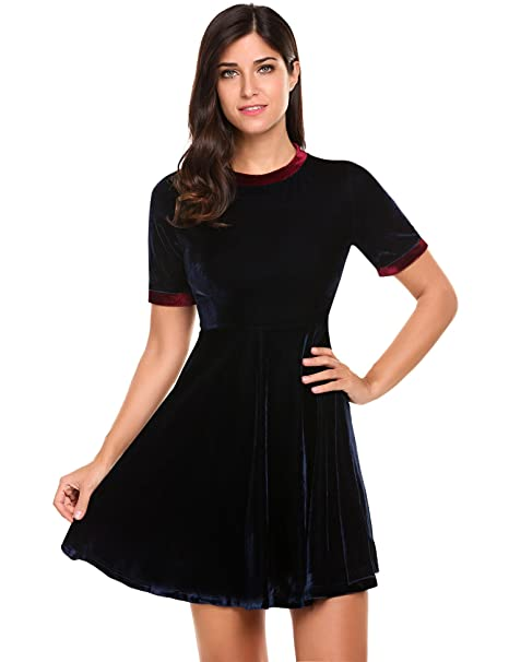 ACEVOG Womens Short Sleeve O Neck Fit and Flare A Line Swing Midi Dress(BL 67a940ca3