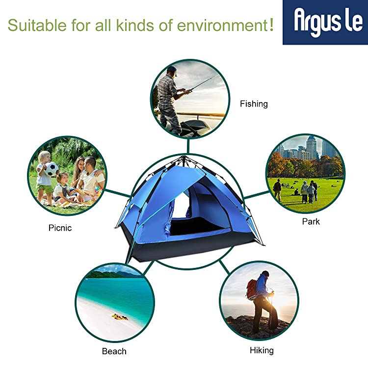 Argus Le Automatic Instant Tents for Camping, Easy Setup Waterproof Tents with Sun Shelter for 2 to 3 Person, Family