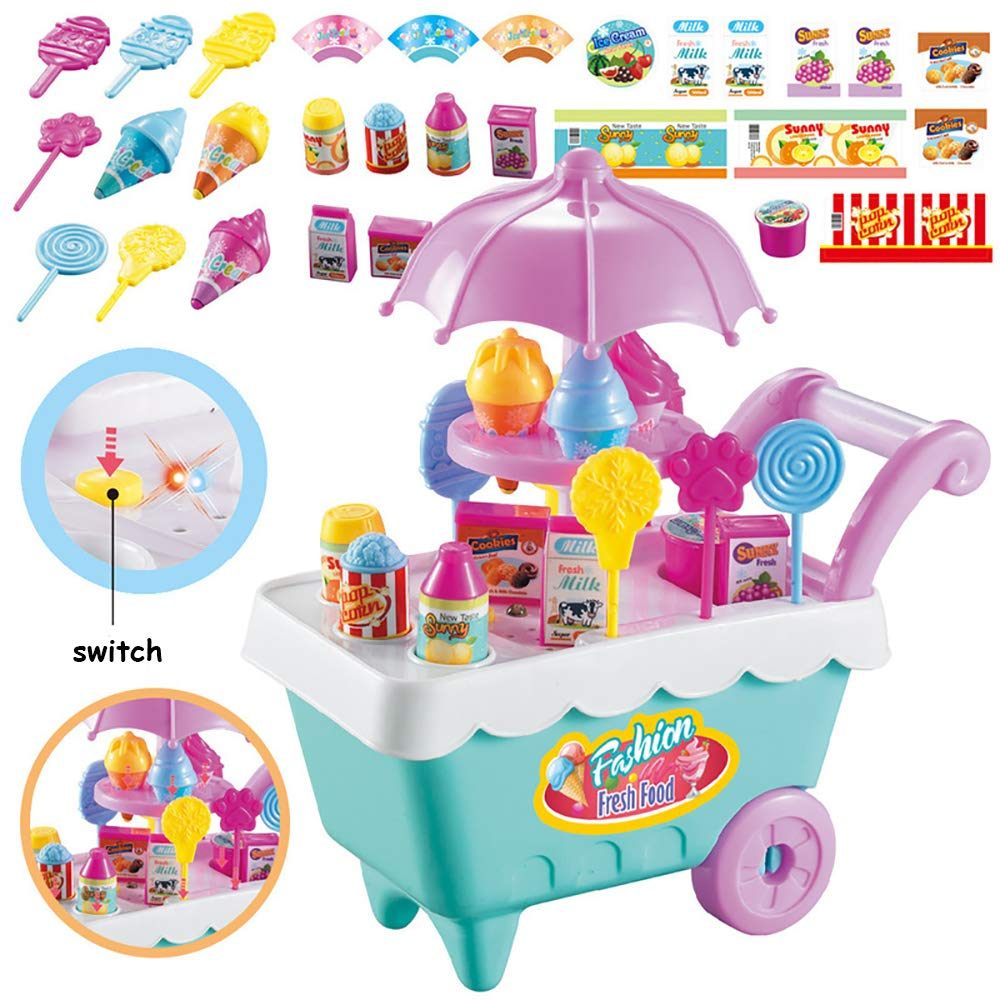 ELitao 19 PCS Ice Cream Candy Trolley Cart with Music Pretend Food Play Toy for Baby Kids Girls by ELitao