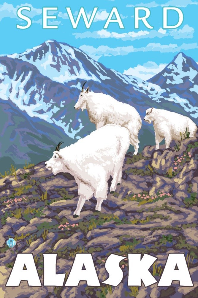 Mountain Goatsシーン – スワード、アラスカ 36 x 54 Giclee Print LANT-13756-36x54 36 x 54 Giclee Print  B017E9V6KC