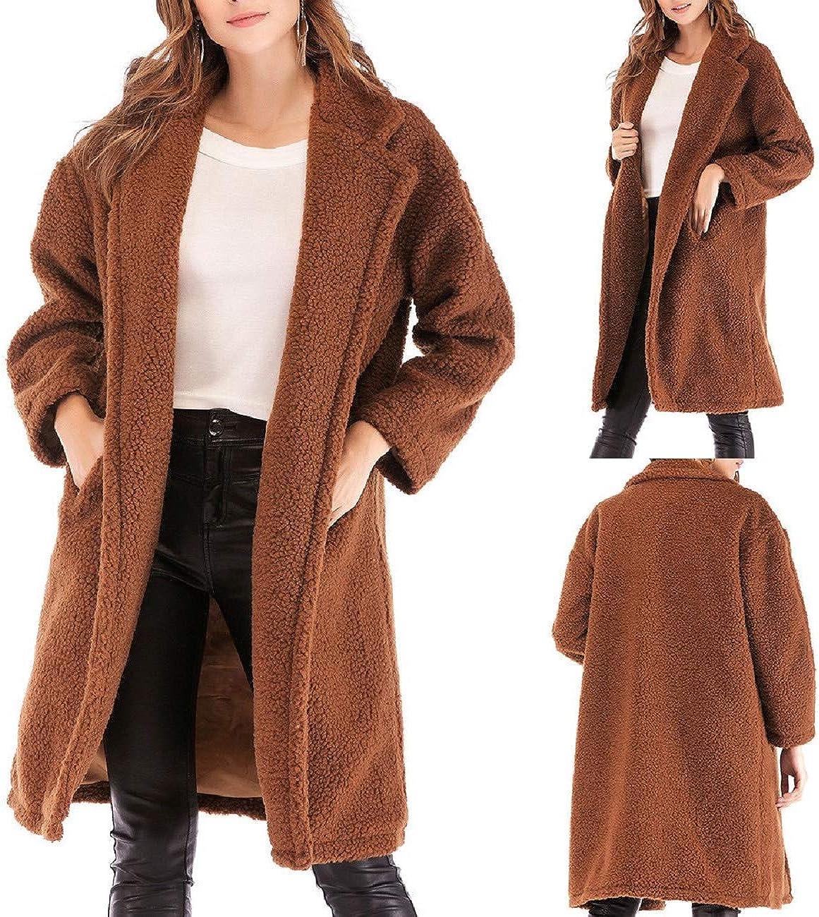 FAPIZI Womens Winter Coat Fashion Leopard Printed Long Sleeve Open Front Cardigans Jacket Warm Faux Fur Outwear Pocket