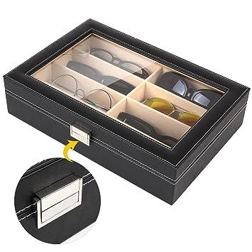 MVPOWER Caja para Gafas con 8 Estuches para Guardar y Almacenar Anteojos, Organizador y Soporte