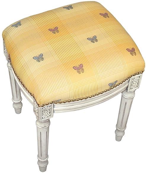 Amazon Com Sketchone Upholstered Vanity Stool Butterfly Kitchen
