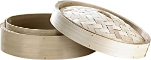 Dim Sum Giant Bamboo Steamer with Lid (Case of 5), PacknWood - Reusable Steaming Basket for Bao and Dumpling (55 oz, 11.8