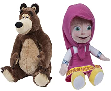 mascha y el oso Mischa Peluche Muñeca de peluche 16 – 19 cm, Masha Misha