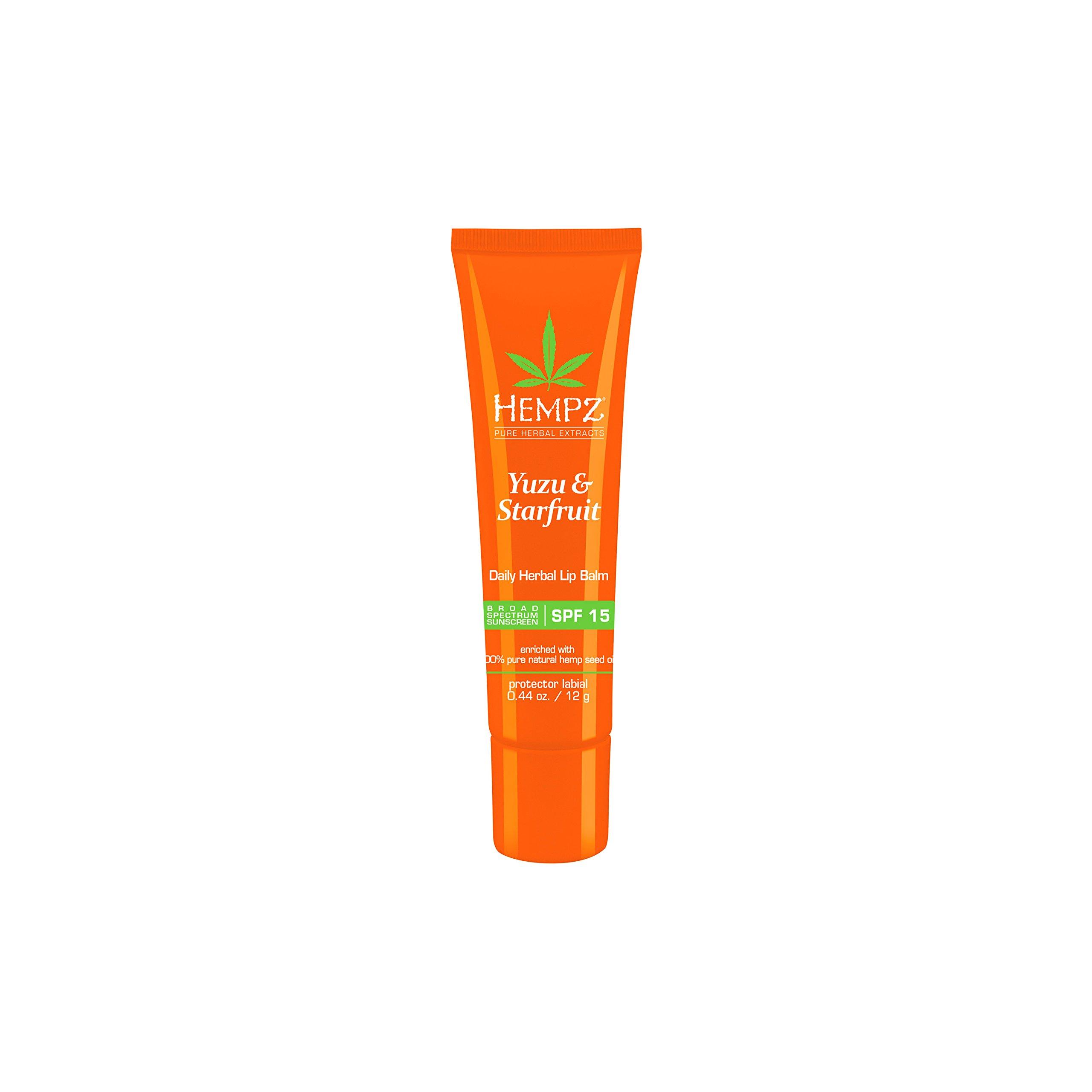 Hempz Yuzu & Starfruit Daily Herbal Lip Balm with SPF 15, 0.44 Ounce