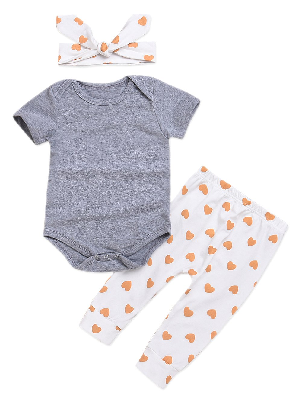Seven Young 3Pcs Cotton Newborn Baby Girls Tops + Heart Pants + Headband Clothes Outfits Set(Short Sleeve, 6-12 Months)