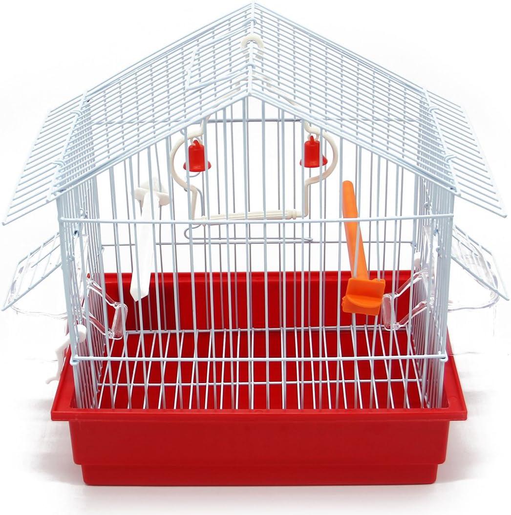 BPS Jaula Pájaros Metal con Comedero Bebedero Columpio Saltador Cubeta Color envia al Azar 27.5 x 19.5 x 30 cm BPS-1162 (BPS-1162)