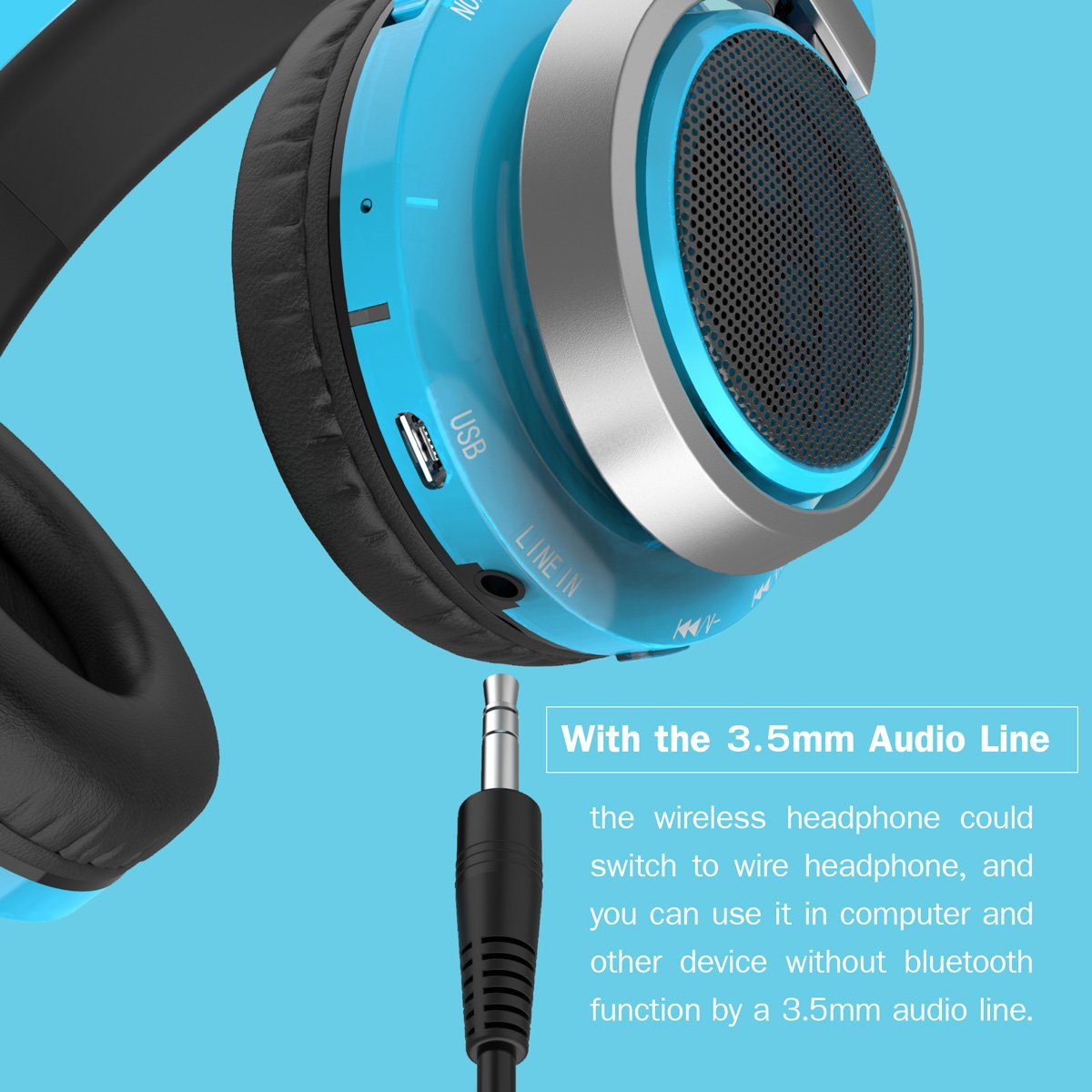 Excelvan Wireless Bluetooth Over Ear Headphones with Flashing Light for Kids Children Support FM Radio TF Card for iPhone 8 7 7plus ipad Tablet Samsung Android Phones (Blue)