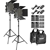 Neewer 2-Pack Bi-Color LED Video Light and Stand Kit with (4) Battery and (4) Charger-660 LED with U Bracket and Barndoor(3200-5600K),3-6.5 Feet Adjustable Light Stand for Studio,YouTube Shooting