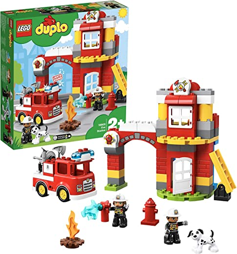 LEGO 10903 DUPLO Town Fire Station with Light and Sound, Fire Engine and 2 Firemen Figures, Toy for Kids Age 2-5