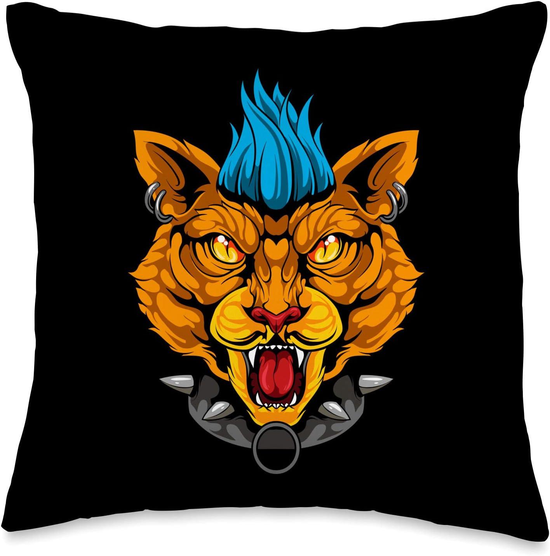 Mohawk Cat Punk Rocker Haircut Kitty Designs Mohawk Cat Punk Rocker Haircut Kitty Throw Pillow, 16x16, Multicolor
