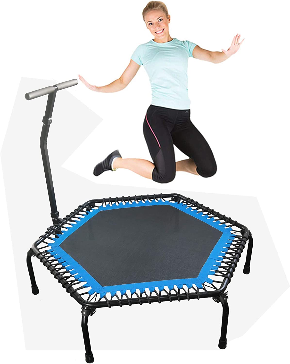 leikefitness Professional Gym Workout 50 Fitness Trampoline Cardio Trainer Exercise Rebounder with Adjustable Handle Bar, Max Load 330lbs