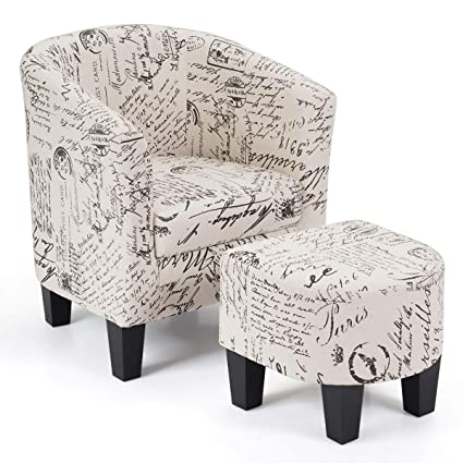 Terrific Costway Armchair And Ottoman Stool With Script Pattern Accent Chair Furniture Set Linen Fabric Soft Sponge Firm Wood Frame Ideal For Living Room Inzonedesignstudio Interior Chair Design Inzonedesignstudiocom