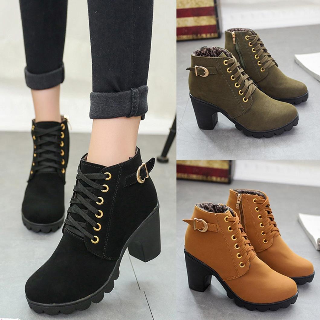 Amazon.com: Womens tacón alto Lace Up botas de tobillo Mujer ...