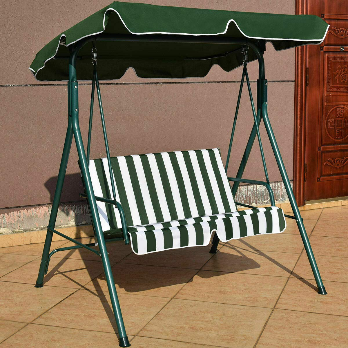 Heavens Tvcz Excellent Hammock Glider Loveseat Swing Green Canopy Cushioned Comfortable Seats Frame Steel Patio Outdoor