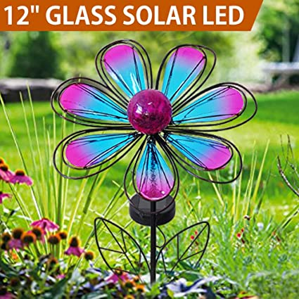 BRIGHT ZEAL 12u0026quot; Large Metal U0026 Glass Solar Flowers Yard Art   Outdoor  Garden Decorations