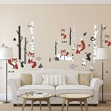 Decalmile grand animaux forêt stickers muraux renard lapin arbre stickers muraux amovible vinyle nursery décorations murales