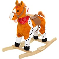 Baybee Wooden Horse for Kids/Baby-Rocking Horse for Kids/Toddlers/Baby 3 Years with Realistic Sounds Rocking Toys for Kids| Safely Holds Children ( Orange )