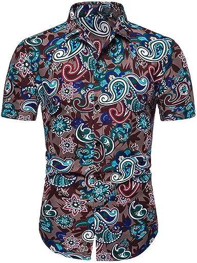Camisas Hawaianas Tropicales Camisa de Manga Corta Playeras Florales de Verano de Verano