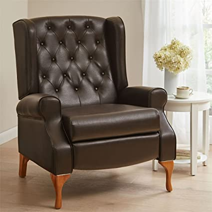 Delicieux BrylaneHome Queen Anne Style Tufted Wingback Recliner (Dark Brown,0)