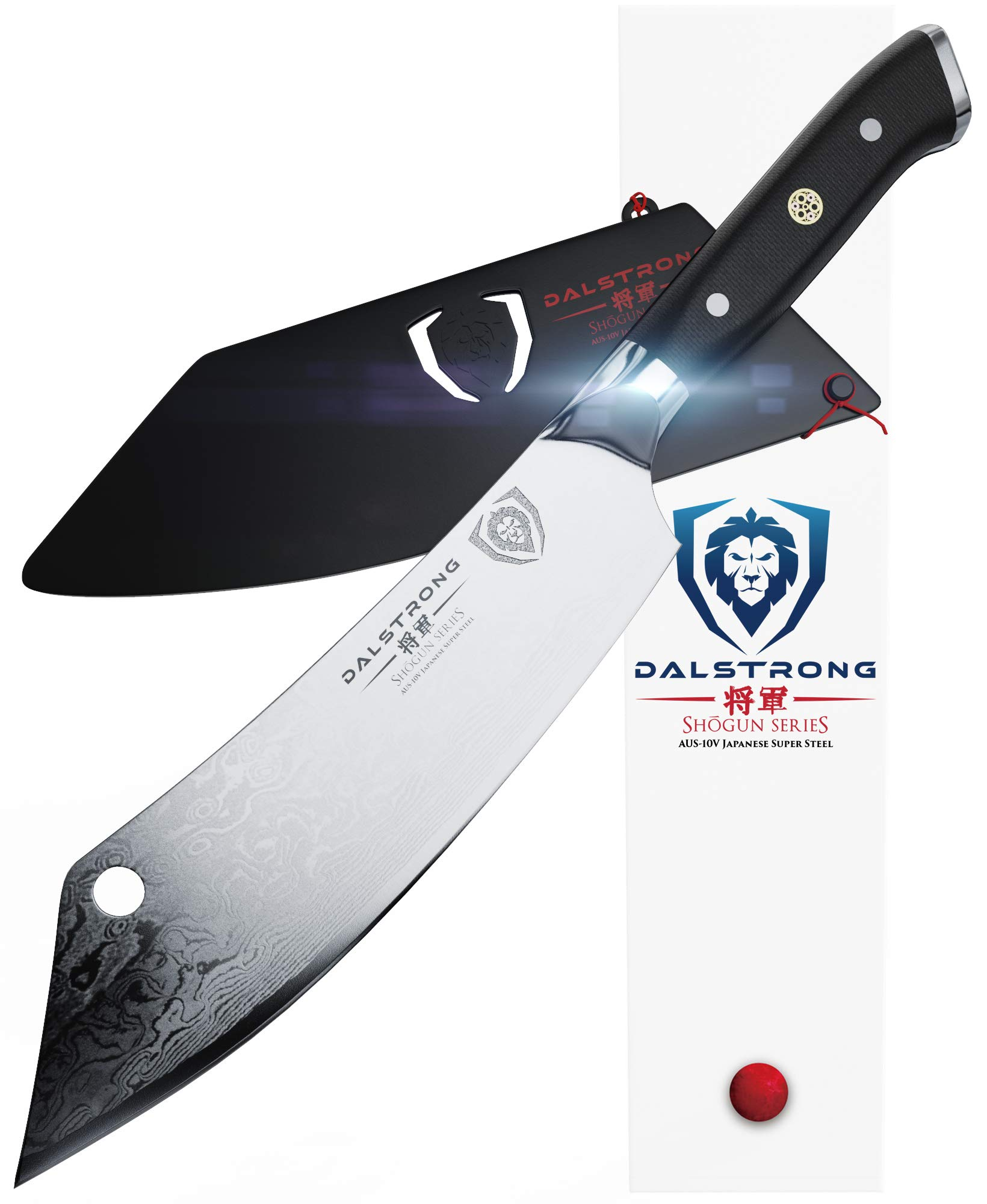 DALSTRONG - 8'' Chef's Knife''The Crixus'' - Shogun Series - Chef & Cleaver Hybrid - Japanese AUS-10V Super Steel - Meat Knife - w/Sheath by Dalstrong