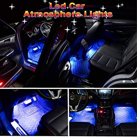 img buy Car LED Strip Light, Auto Parts Club 4pcs 36 LED Car Interior Lights Under Dash Lighting Waterproof Kit,Atmosphere Neon Lights Strip for Car,DC 12V(Blue)