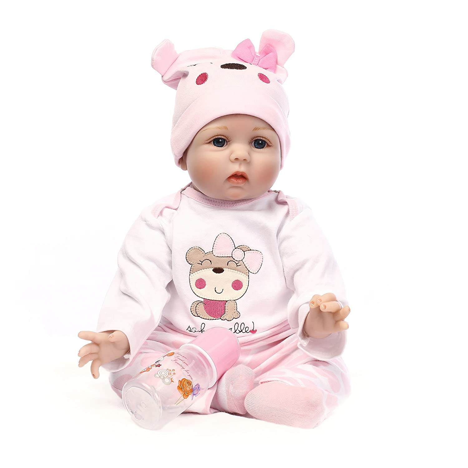 NPK Reborn Baby Doll Girl 22 Look Real Silicone Vinyl Handmade Weighted Pink Outfit Eyes Open Cute Doll Gift Set for Ages 3+