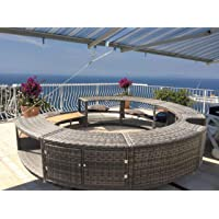 UK Leisure World New Black Poly Rattan Spa Surround Hot Tub Chic Modern Tropical Hardwood Outdoor