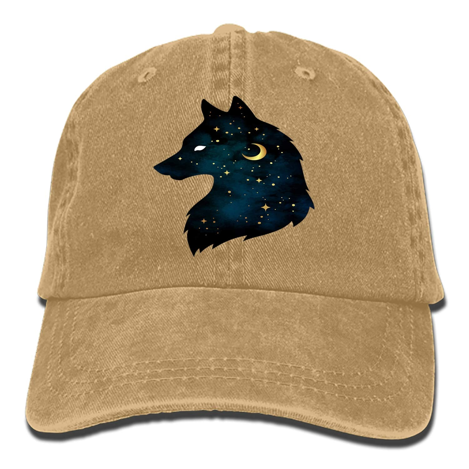 Denim Fabric Adjustable Wolf of Night Vintage Baseball Cap
