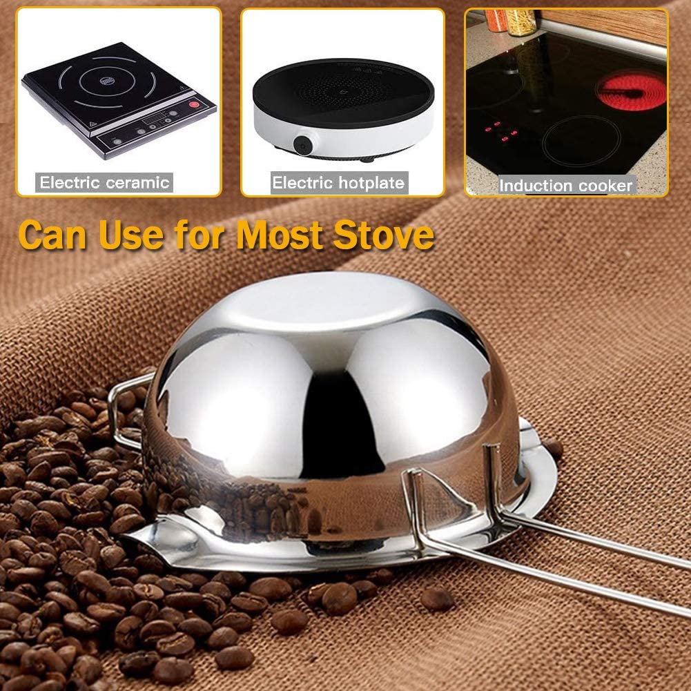 18//8 Stainless Steel Chocolate Melting Pot with Spatula for Melting Chocolate Butter Cheese Large Capacity with Heat Resistant Handle Double Boiler Pot 600ML Candy and Candle Making
