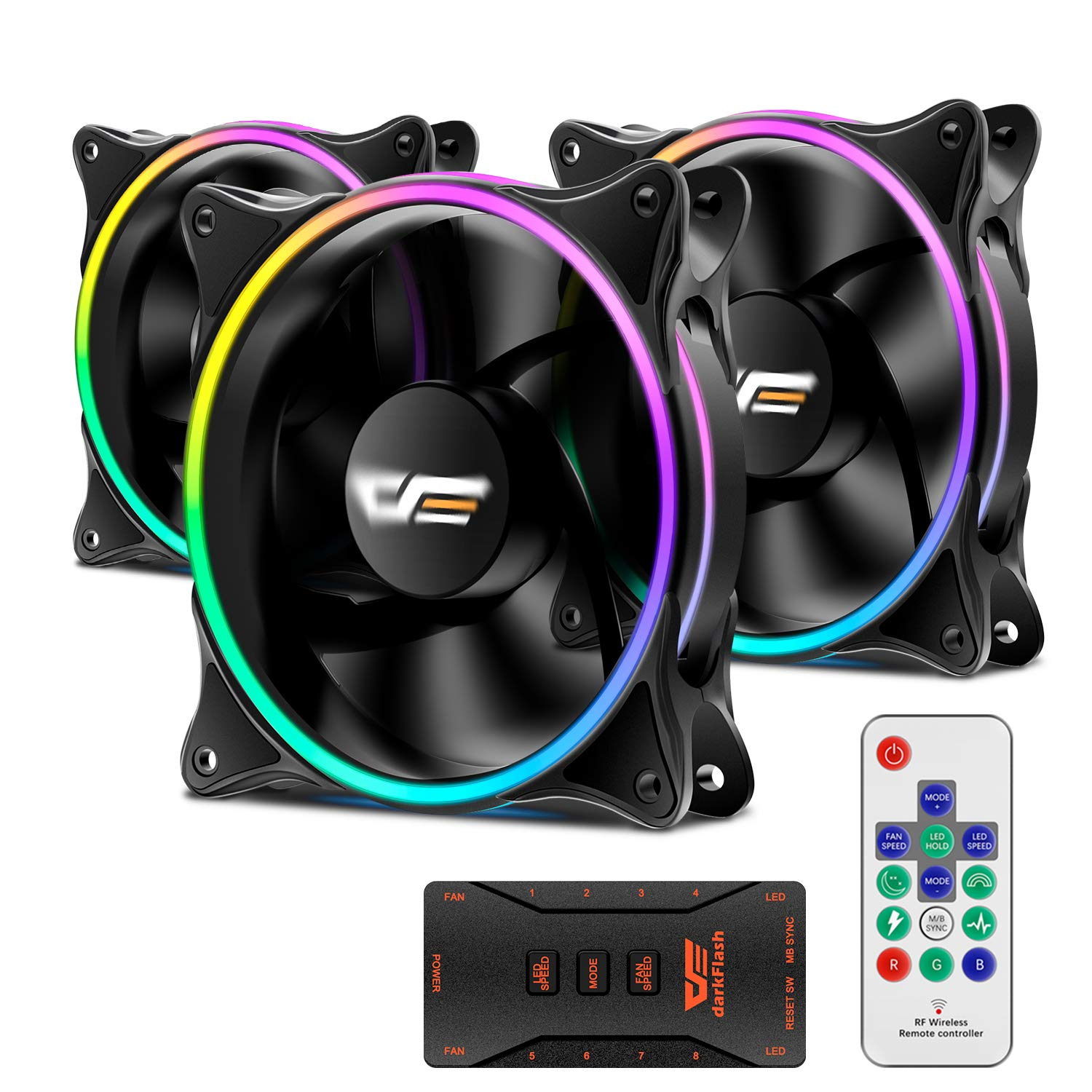 3 Pack 120mm RGB LED Cooling Fan Mod 12V Remote Control For Computer Case PC CPU